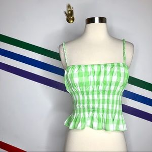 NEW Urban Outfitters gingham smocked top
